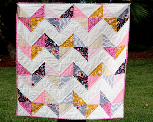 Modern Chevron Pink and Gold Baby Quilt