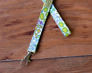 White Cotton Floral Lanyard