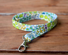 Load image into Gallery viewer, White Cotton Floral Lanyard