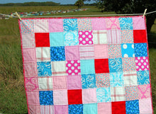 Load image into Gallery viewer, Pink Patchwork Small Quilt