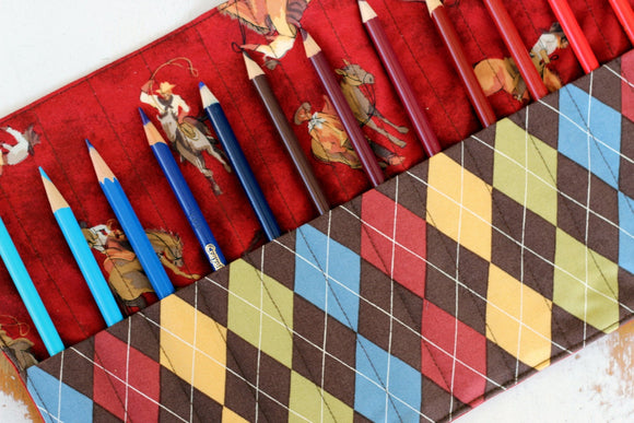 Argyle Horses Pencil Roll