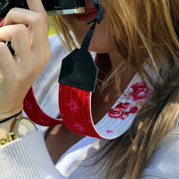 Pink and Red Floral Camera Strap