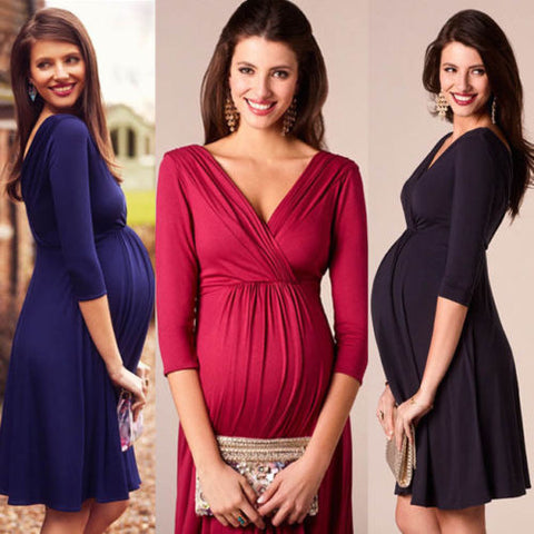 Three Quarter Sleeve Maternity Dresses
