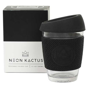 Neon Kactus Rock Star Black Glass Coffee Cup - SW Coast Refills