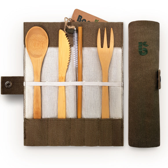 Bambaw Bamboo Cutlery Set in Jute Pouch - SW Coast Refills
