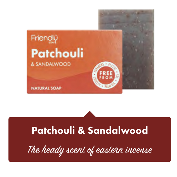 Friendly Soap Patchouli & Sandalwood Soap Bar - 95g - SW Coast Refills