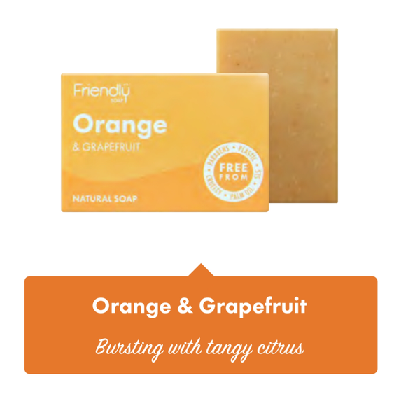 Friendly Soap Orange & Grapefruit Soap Bar - 95g - SW Coast Refills