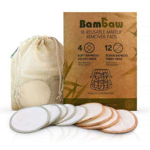 Bambaw Reusable Bamboo Makeup Remover Pads - Pack of 16 - SW Coast Refills