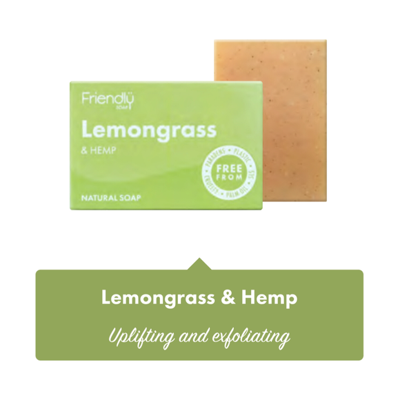 Friendly Soap Lemongrass Soap Bar - 95g - SW Coast Refills