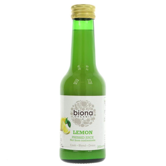 Biona Pure Organic Lemon Juice 200ml Glass Bottle | Store Cupboard Essentials | SW Coast Refills