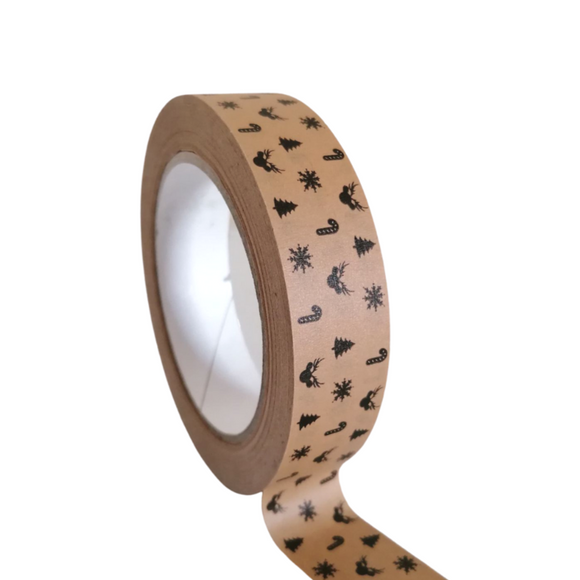 Christmas Festive Kraft Tape - Eco Friendly Gift Wrapping | Christmas Collection | SW Coast Refills