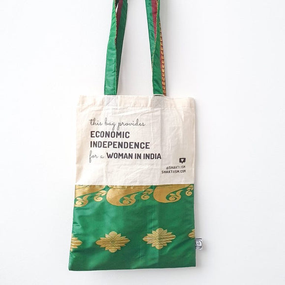 Upcycled Sari Shopping Bag