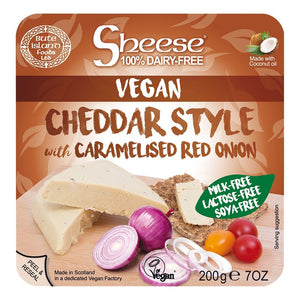 Bute Island Sheese 100% Dairy Free Cheese - Cheddar with Caramelised Onion (200g)