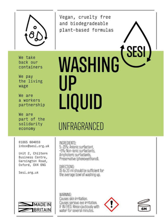 SESI Washing Up LiquidRefill | Eco Cleaning | REFILLS | SW Coast Refills