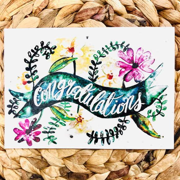 Congratulations  Greeting Card - plantable seeded cards for all occasions | Birthday Cards SW Coast Refills