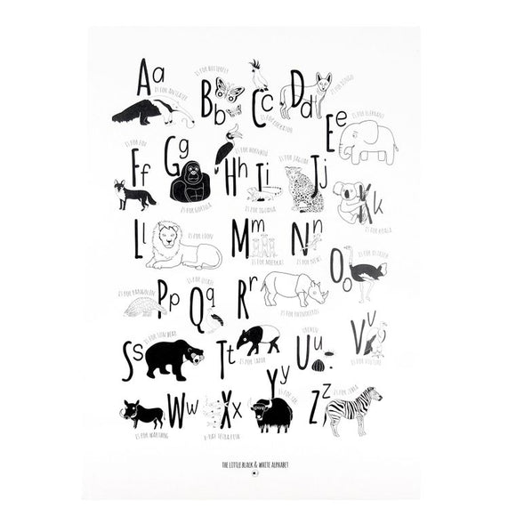 Children's Nursery Bedroom Printed Animal Alphabet Wall Hanging - Monochrome Skandi Wall Hanging Frieze | SW Coast Refills