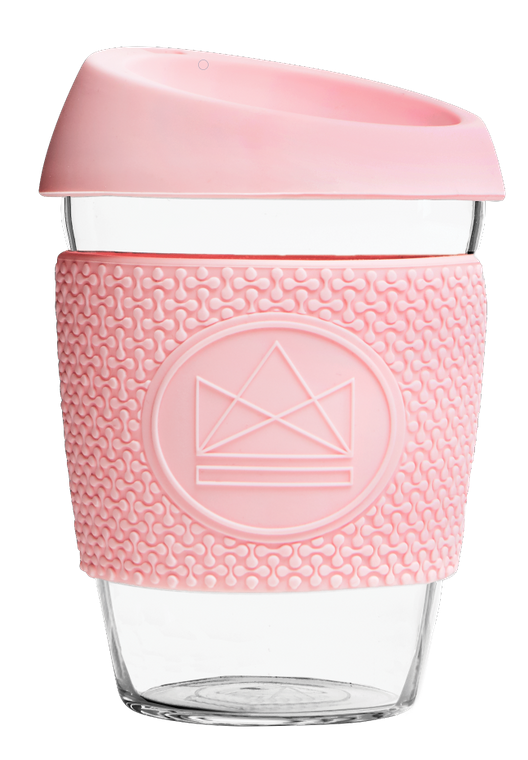Neon Kactus Reusable Glass Coffee Cup - Pink Flamingo 12oz