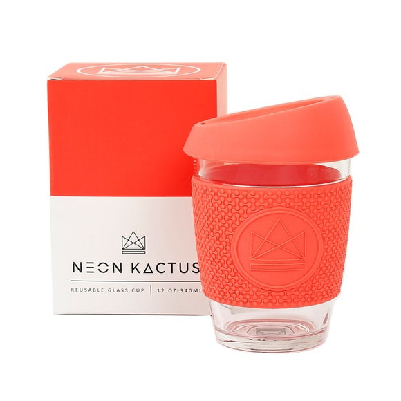 Neon Kactus Coral Glass Coffee Cup - SW Coast Refills