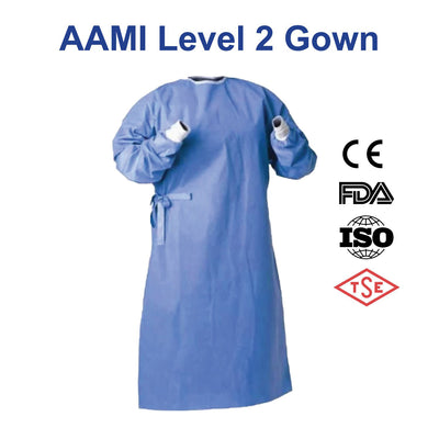 Blue medical PPE AAMI Level 2 Isolation Gown for use in healthcare facilities. White knitted cuffs.