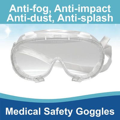 Safecare International medical safety goggles are clear wraparound lenses with two anti-fogging vents and a  comfortable elastic adjustable one size fits all band. Anti-Fog, Anti-Splash, Anti-Dust and Anti-Impact protects eyes well.