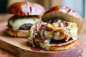 Bison Burgers with Cabernet Onions and California Cheddar