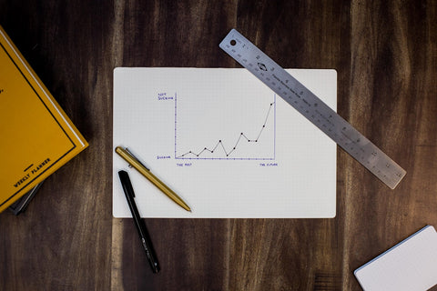 A white piece of paper sitting on a brown wooden table, with a pen, pencil and ruler nearby. The paper shows an upward trending graph