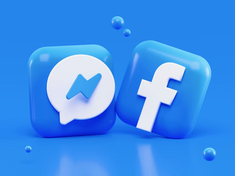 Bright blue Facebook logos on a bright blue background
