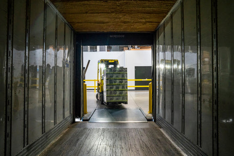 A view from the inside of a food distribution truck