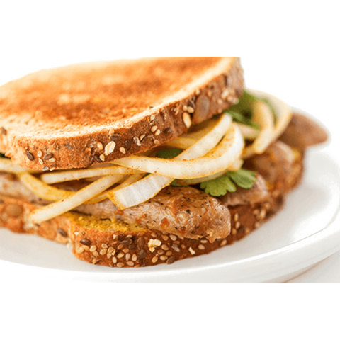 Grilled Mighty Multigrain Sliced Bread Sandwich with onion and chicken