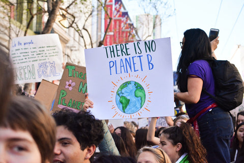 At a climate change rally, someone holds a sign that reads 'There is no Planet B'