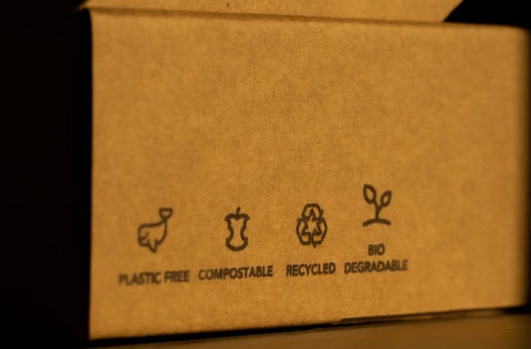 """A plain cardboard box that reads """"Plastic free, compostable, recycled, biodegradable"""""""