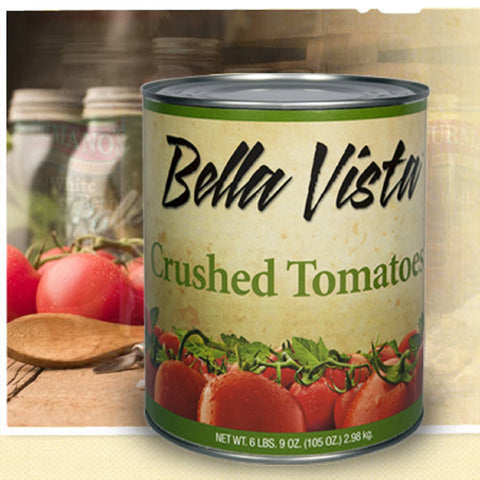 Can of Crushed Tomatoes bella vista on a background of fresh tomatoes