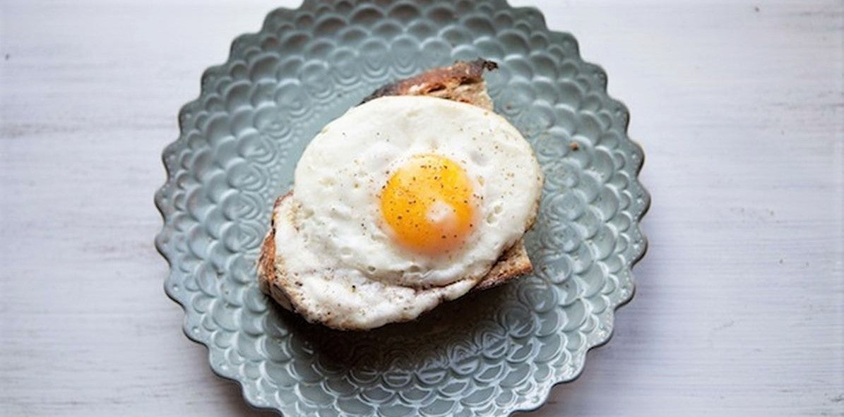 overhead view of fried egg on small pretty plate