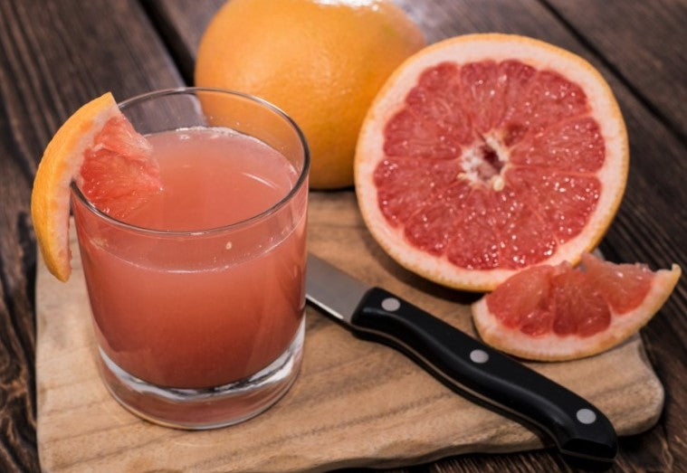small glass of freshly squeezed grapefruit juice