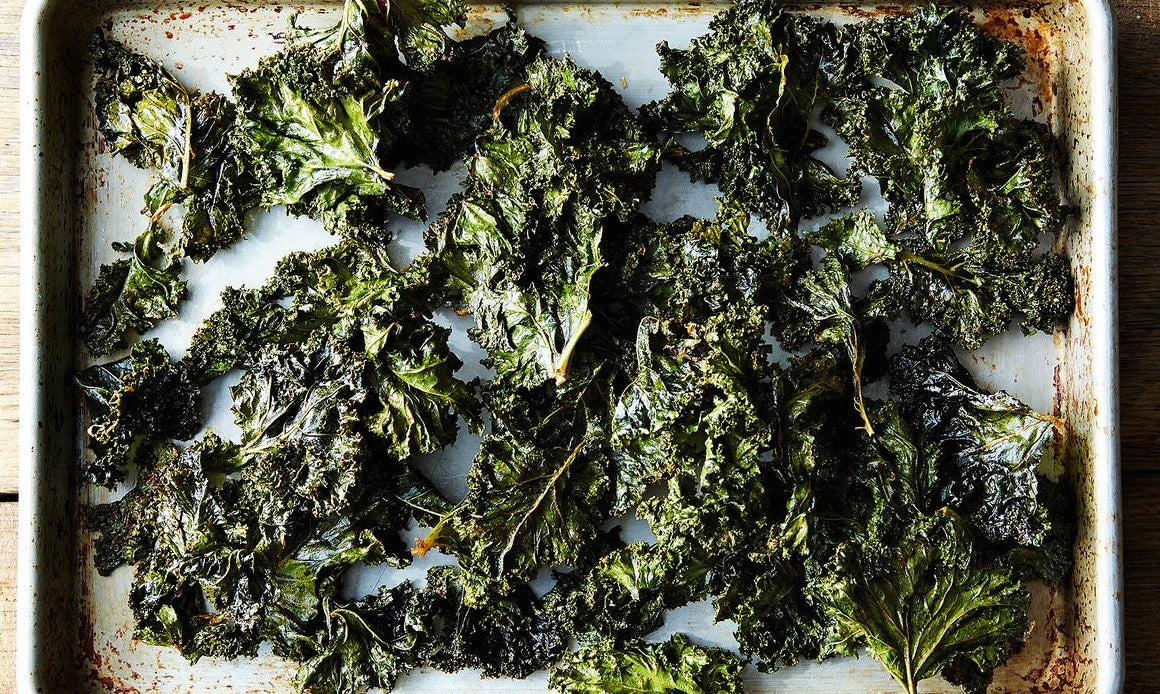 tray of homemade kale chips