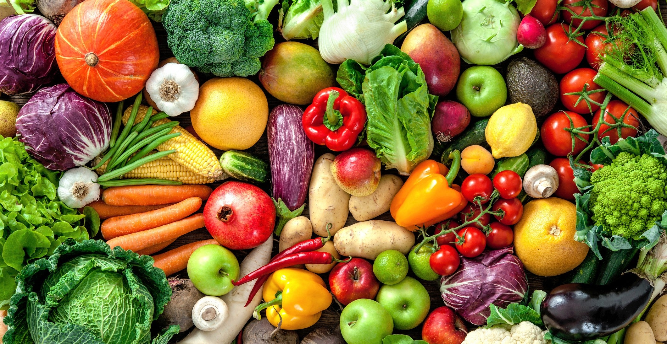brilliant brightly colored display of organic fruit and vegetables