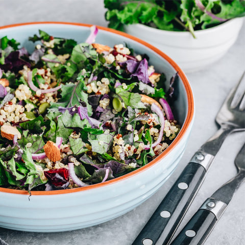 Healthy bowl organic red kale and quinoa salad