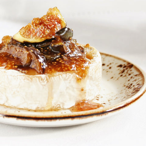 Baked Camembert cheese with Prima Frutta Fig Jam and fresh figs