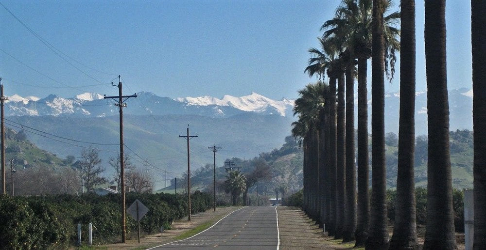 landscape shot of trees and mountains in Tulare, California