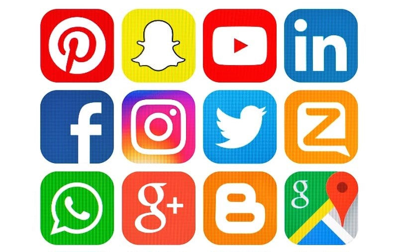 assortment of brightly coloured social media icons arranged in grid
