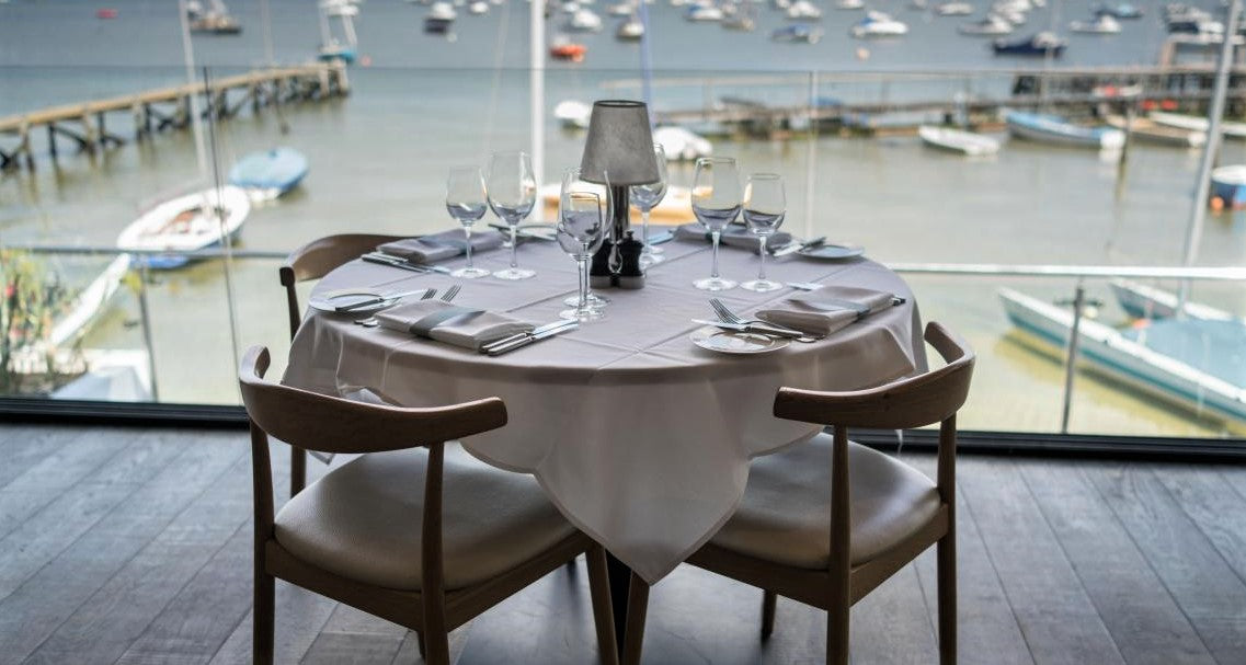 special VIP table in restaurant with window view