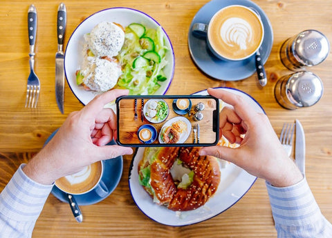 iphone food photography with coffee and organic meal