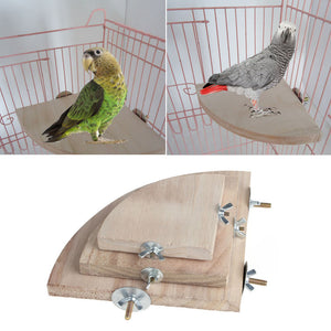 Pet Bird Parrot Wood Platform Stand Rack Toy