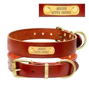 Genuine Leather Personalized Dog ID Collar