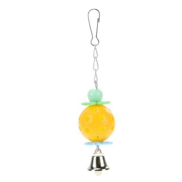 Cockatiel Parrot Toys Wooden Steel Hanging Bell Cage