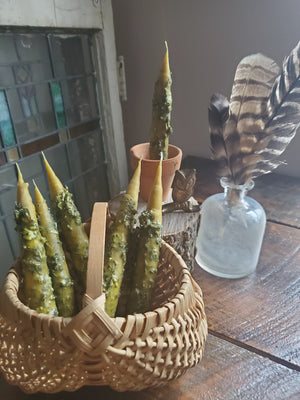 Mugwort Beeswax Taper Candle