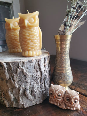 Owl Shaped Beeswax Candle