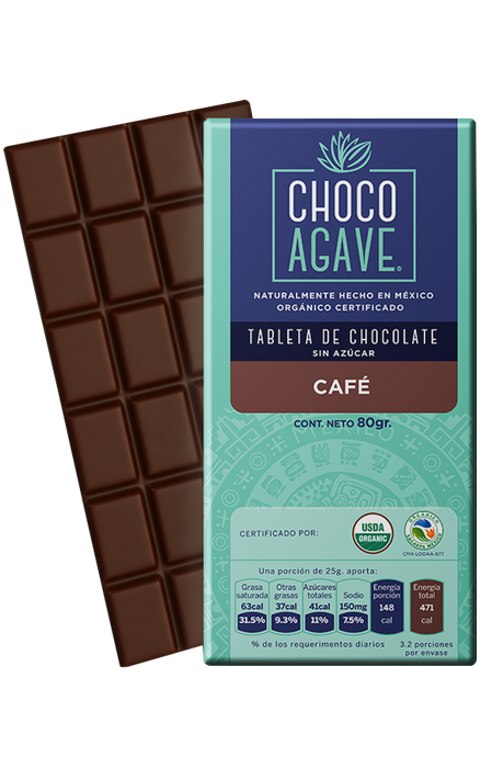 TABLETA DE CHOCOLATE CON CAFÉ 80gr