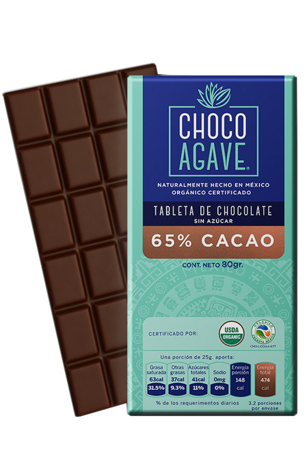 TABLETA DE CHOCOLATE 65% CACAO 80gr