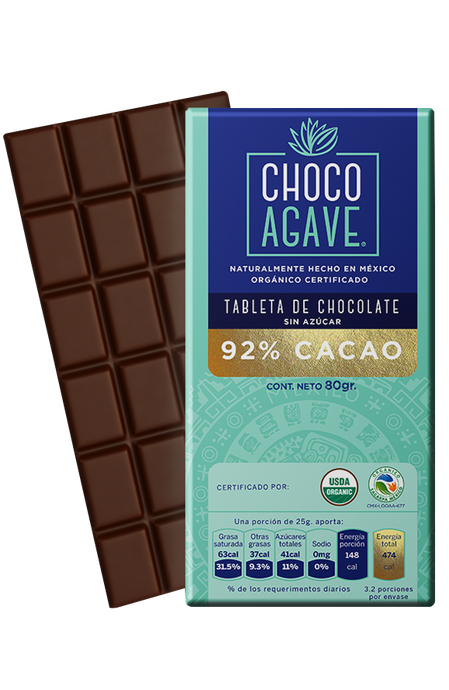 TABLETA DE CHOCOLATE 92% CACAO 80gr